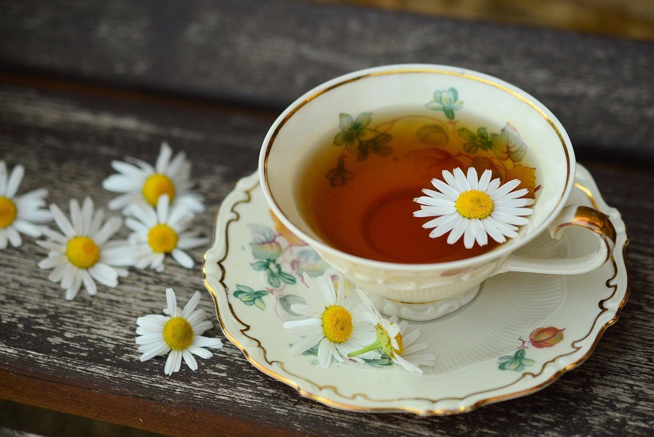 Cup of Relaxing and healthy camomile tea