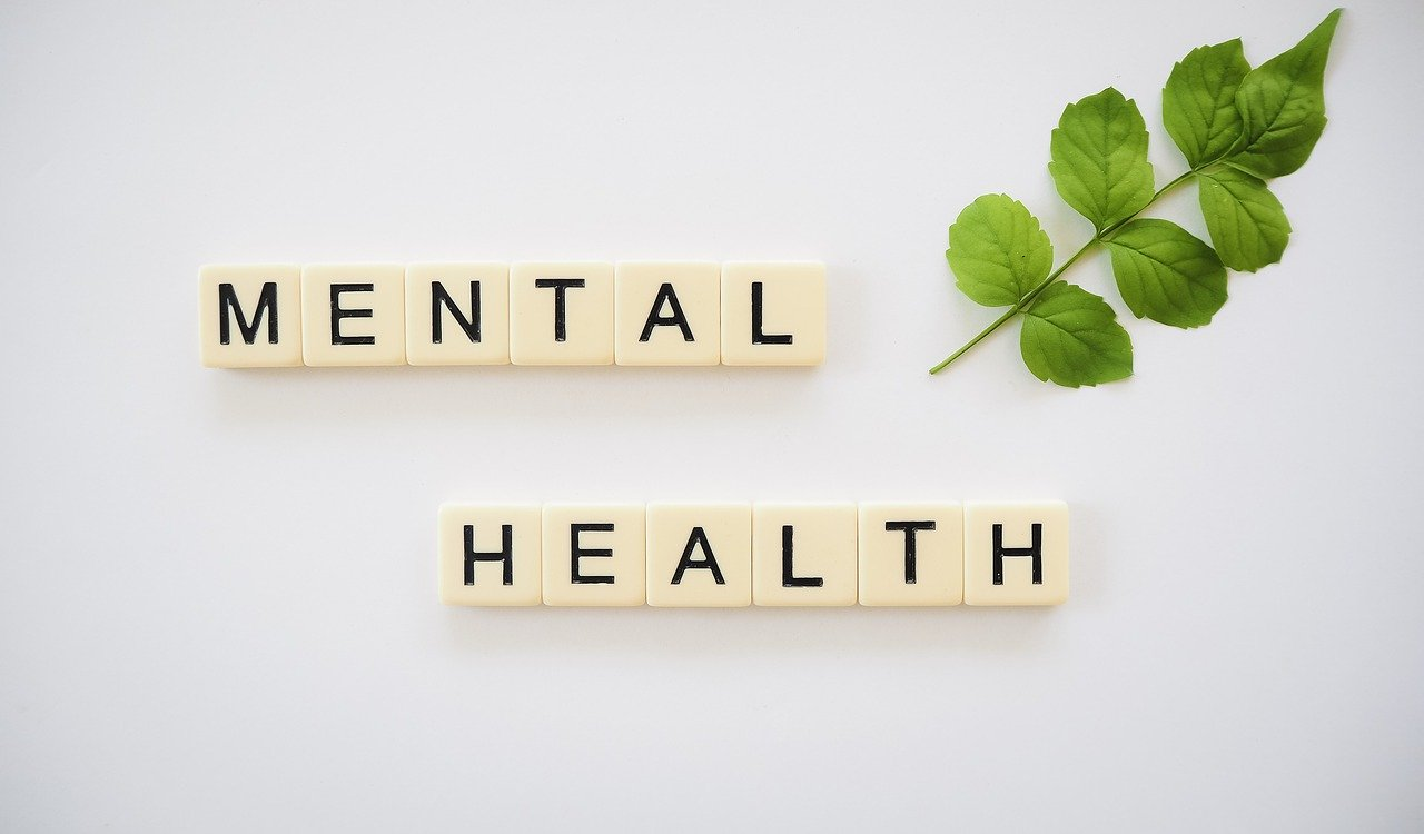 mental health spelled out in scrabble tiles with green leaves